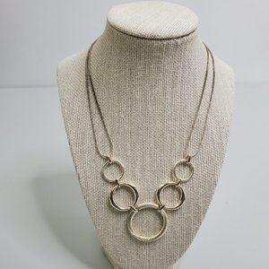 LC Liz Claiborne Necklace Silver Tone Circle Chain